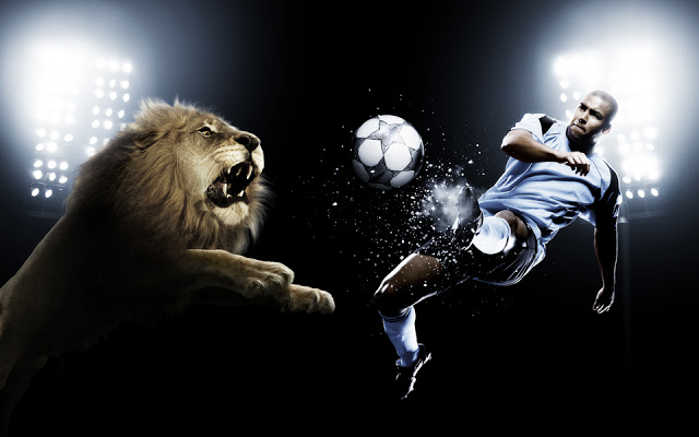 tiger with man playing football - creative-photography-1
