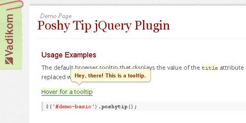 Poshy Tip - jQuery Plugin for Stylish Tooltips