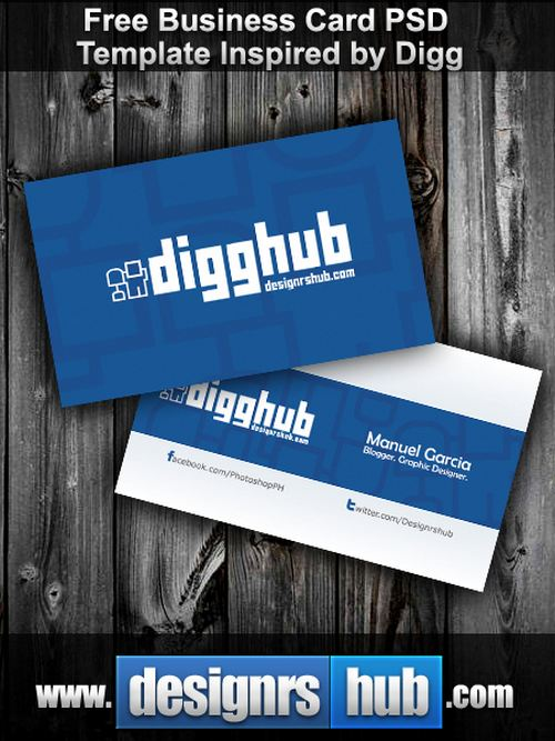 Free Business Card PSD Template Inspired by Digg free business card template