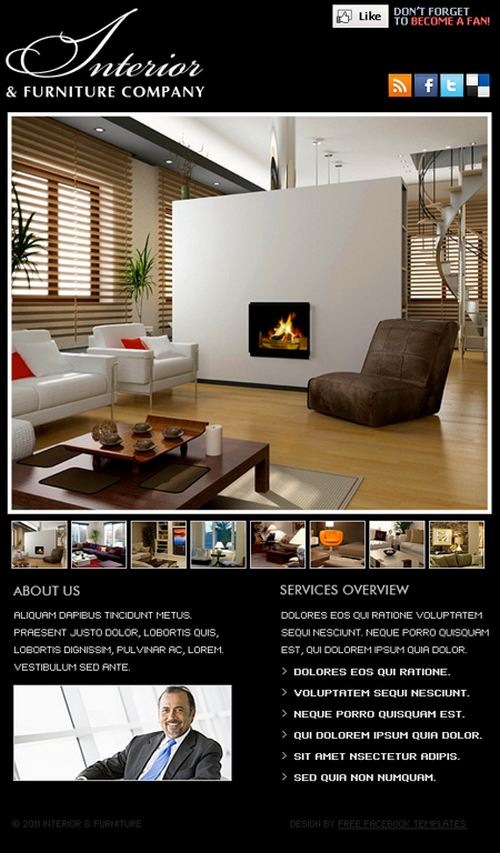 Interior and Furniture Free Facebook FBML Template
