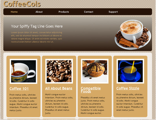 CoffeeCols - HTML5 And CSS3 Templates