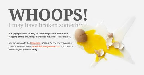 Whoops! Creative 404 Error Page Design from DeliciouslyCreative