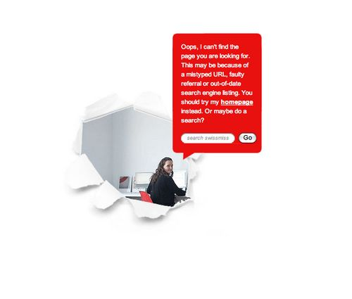 Really helpful 404 Error Page Design and great copy at Swiss-Miss.com