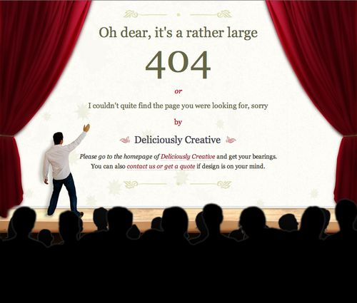 Clever 404 Page with clear directions from Deliciously Creative