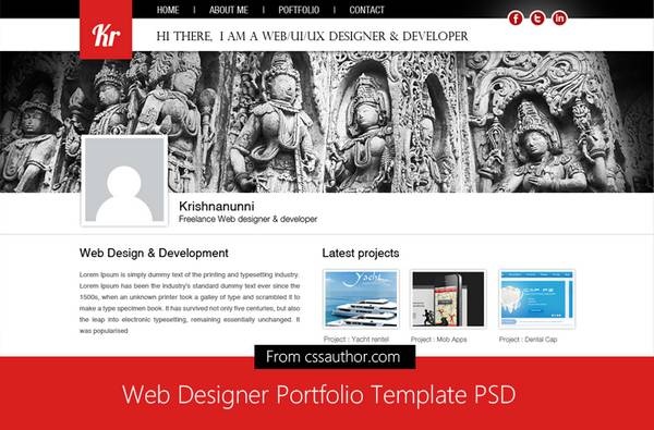 Web Designer Portfolio Template PSD for Free Download