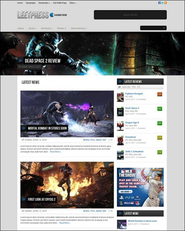LeetPress – A Gaming WordPress Blog Theme