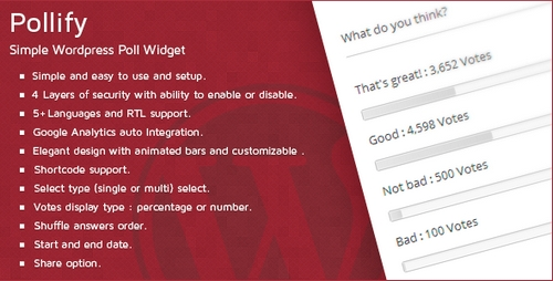 Pollify - Simple WordPress Poll Widget (Paid)