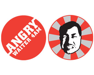 angry waiter face logo