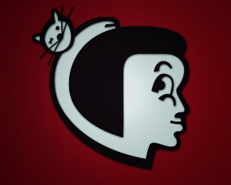 side girly face with cat logo design
