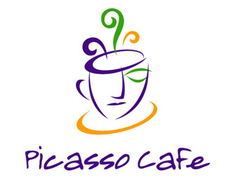 picasso cafe - logo inspired with human face