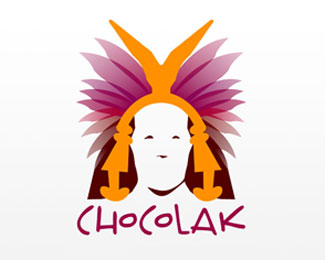 chocolak - human face with hair logo design