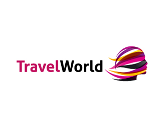 travel world with lady face logo