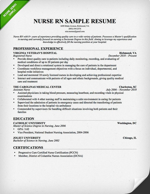 Best Nursing Resume Templates - Registered nurse resume template free