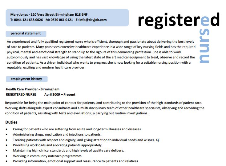 Registered Nurse Resume  Sample Resumes For Nurses