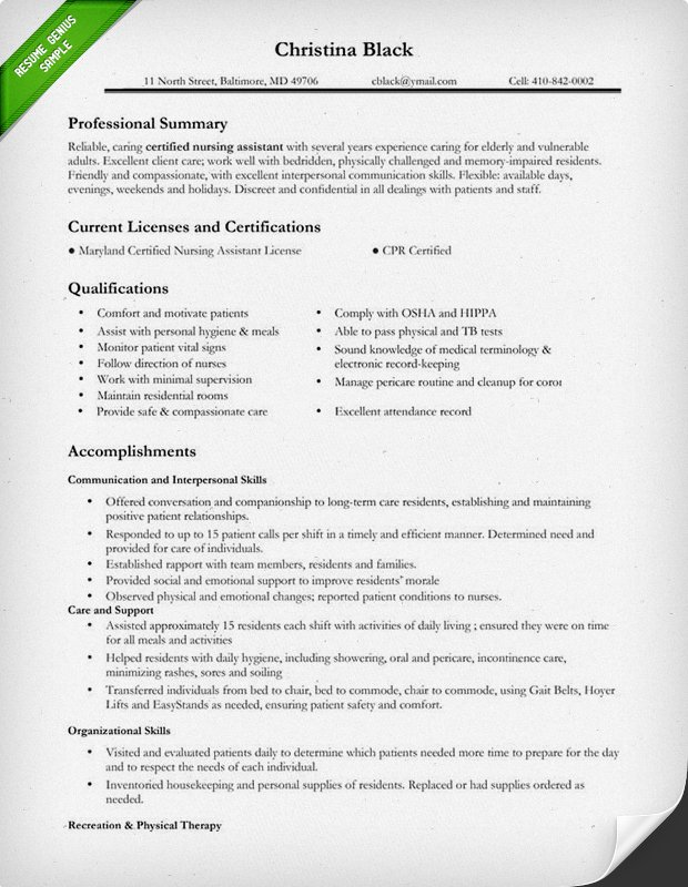 certified nursing assistant resume sample nursing resume template free web resources