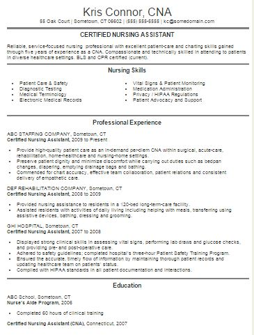 sample resume for certified nursing assistant