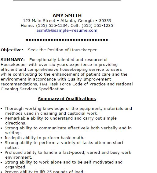 1 Housekeeping Resume  Cleaning Services Resume