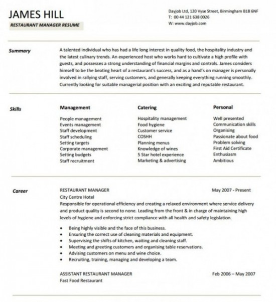 Restaurant Manager Resume Sample - Oloschurchtp.com