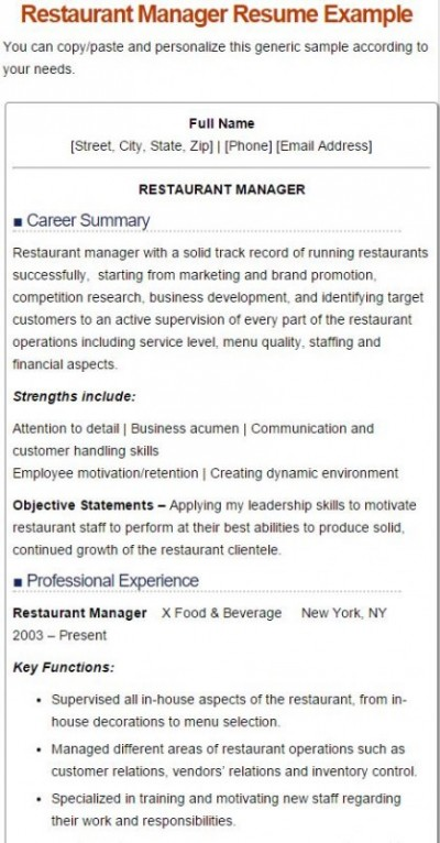 7 best restaurant manager resume for Resume templates for restaurant managers