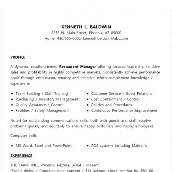 6 Restaurant Manger Resume Sample  Sample Resume For Restaurant Manager