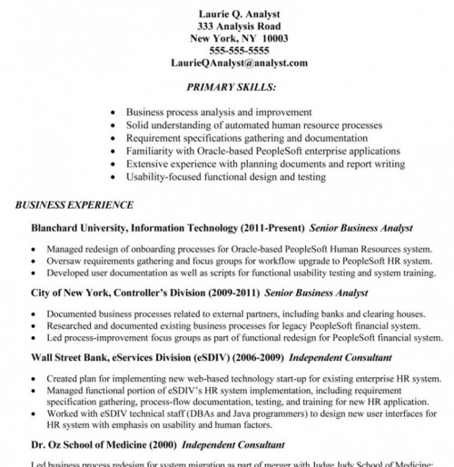hr business analyst resume - Sample Resume Business Analyst