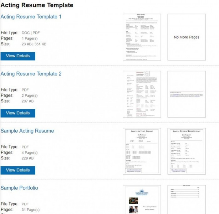 acting resume template download