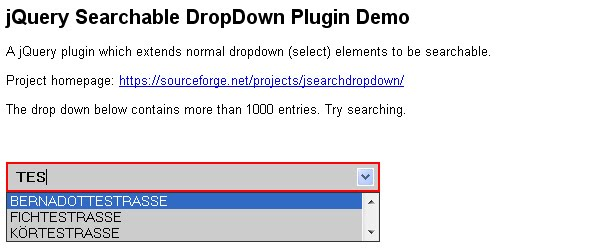 jQuery Searchable DropDown Plugin