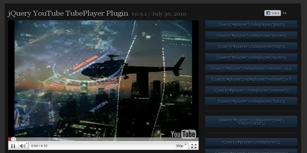jQuery YouTube TubePlayer Plugin