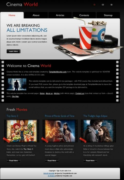 Free Cinema Website Template – A New Monday Freebie