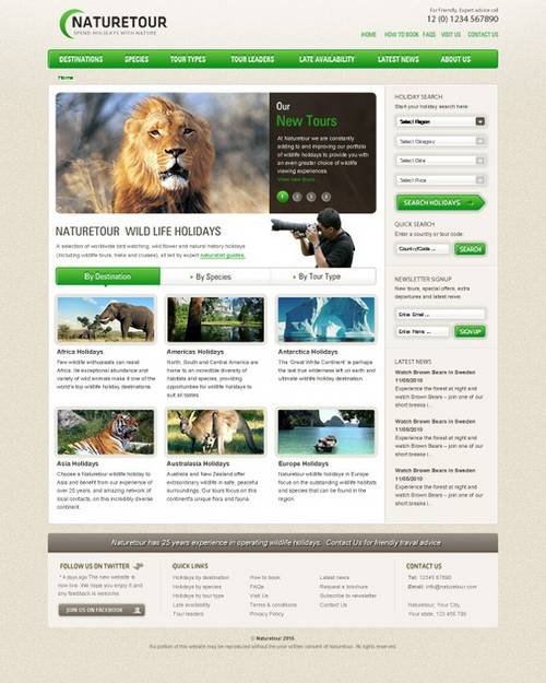 Nature Tour: Free PSD Website Template for Nature Enthusiast