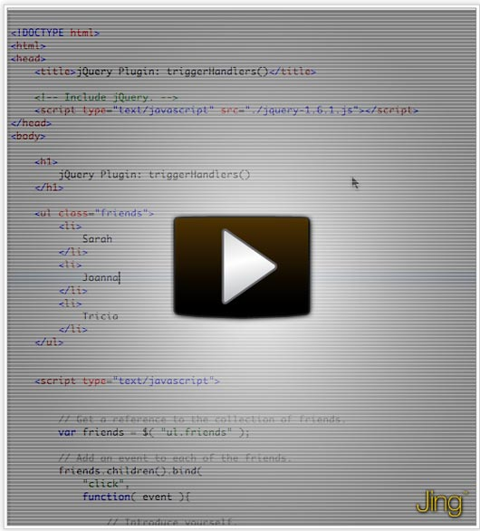 jQuery Plugin: triggerHandlers() – To Trigger Handlers On All Selected Elements