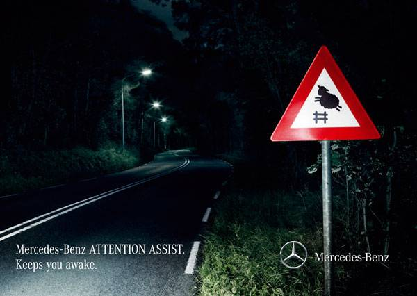 Mercedes-Benz Attention Assist. Keeps you awake Print Ad For Inspiration