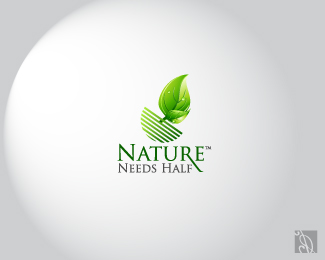 Nature needs Half tree logo design