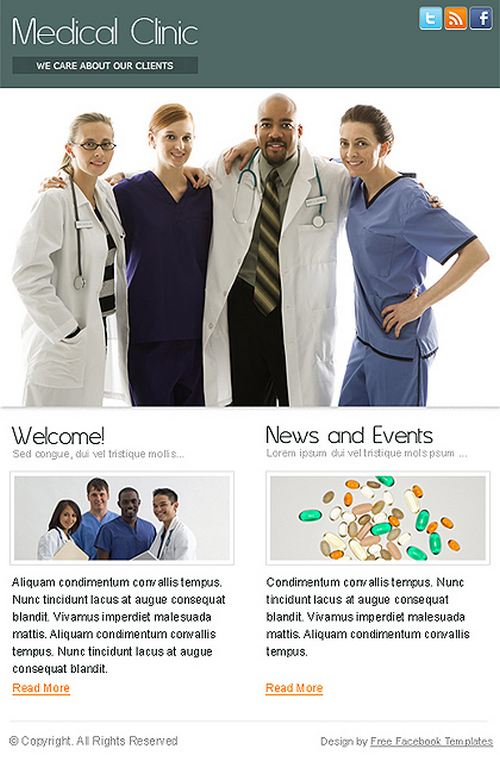 Medical Clinic Static Free Facebook Template