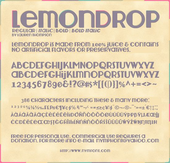 Lemondrop font collection - Amazing Collection of Free Font