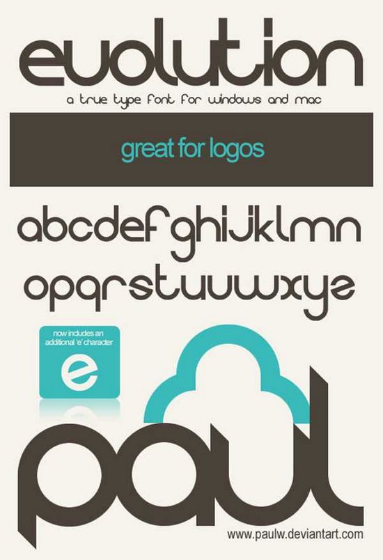 Evolution by Paulw font collection