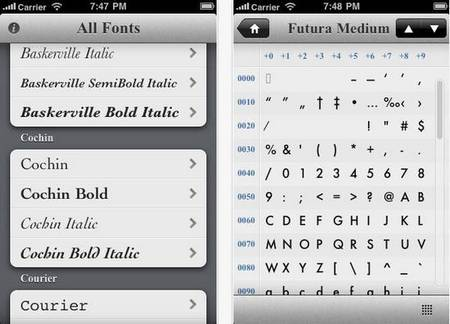 Typefaces fonts iphone apps