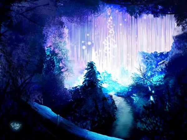 blue trees lights outdoors fantasy art drawings rivers bright - Wallpaper