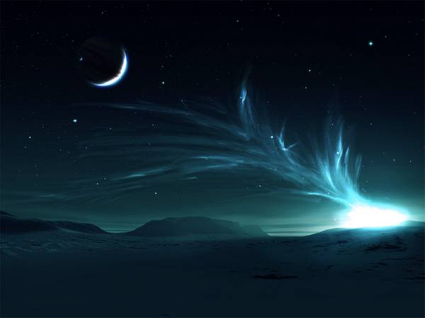 landscapes snow lights stars planets aurora borealis space art - Wallpaper