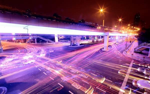 lights urban long exposure - Wallpaper