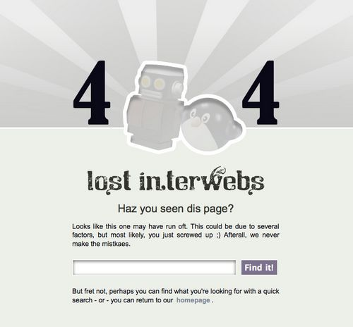 Silly But Useful 404 Error Page Web Design from Object Adjective