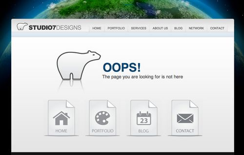 404 Error Page with Clear Navigation for Easy User Response from Studio7Designs