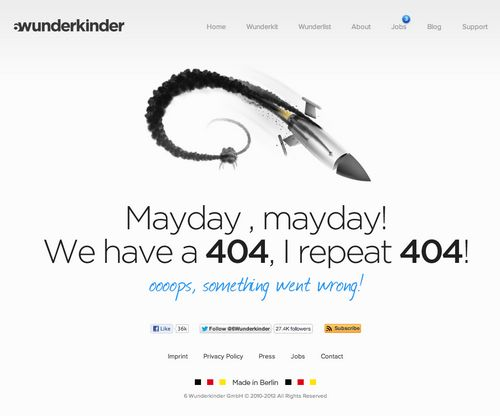 404 Page from 6 Wunderkinder