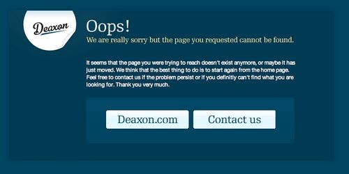 The page cannot be found on Deaxon!