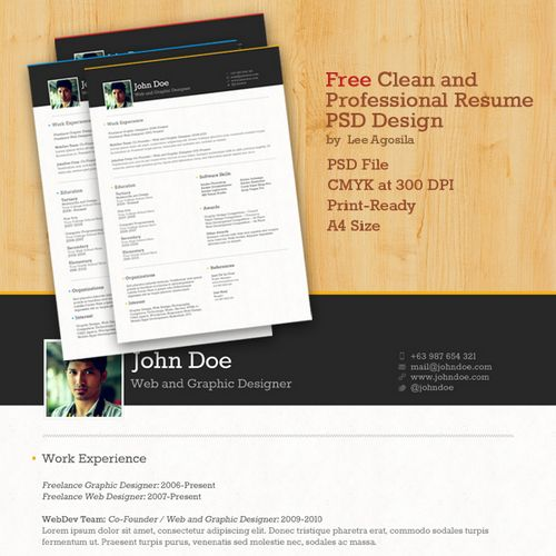 Free Clean and Professional Resume / CV PSD Template