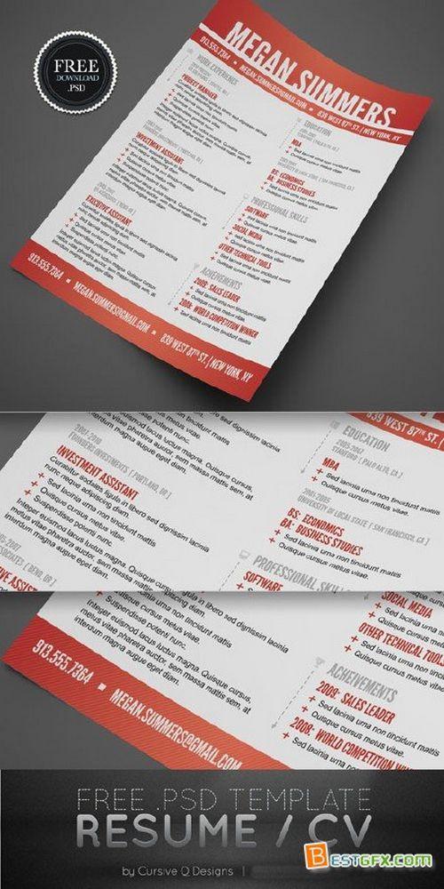 Modern Swiss Style Resume/CV PSD Template