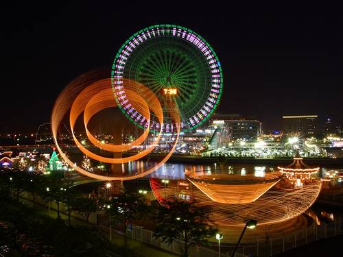 landscapes  ferris wheels  cities
