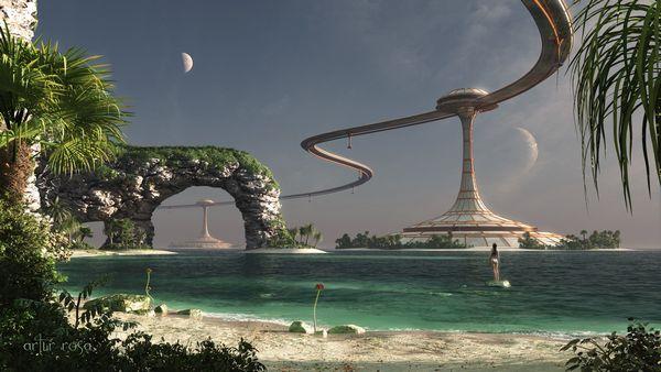 beach futuristic fantasy art