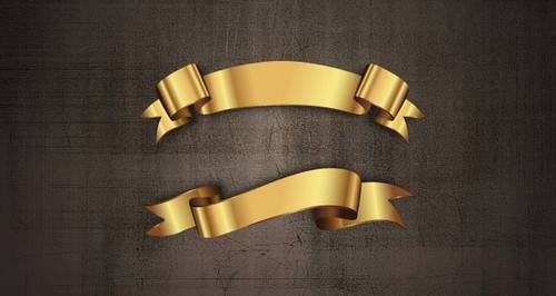 Golden Decorative Vector Ribbons Set