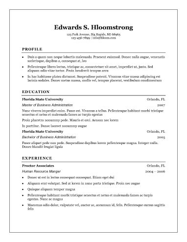 Traditional Elegance - free resume templates